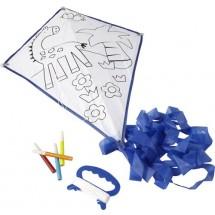 Polyester vlieger om zelf in te kleuren - blauw