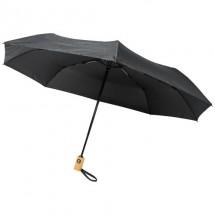 """Bo 21"""" opvouwbare automatische gerecyclede PET paraplu - Zwart"""