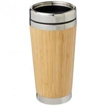 Bambus 450 ml beker met buitenzijde van bamboe - Bruin