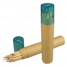 12 gekleurde potloden met puntenslijper - bruin