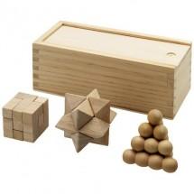 3 Delig houten denkspel - bruin