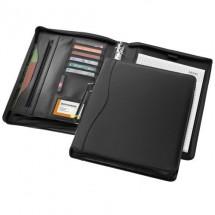 Ebony A4 portfolio met ritssluiting en handvat - zwart
