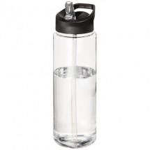 H2O Vibe 850 ml sportfles met tuitdeksel - Transparant/Zwart