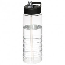 H2O Treble 750 ml sportfles met tuitdeksel - Transparant/Zwart