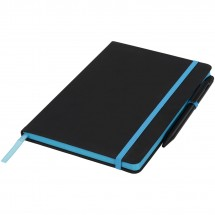 Noir Edge medium notitieboek - Zwart,blauw