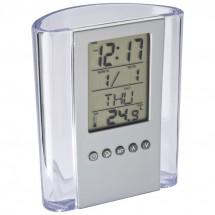 Acryl pennenhouder met klok, datum, dagaanduiding en thermometer - transparant