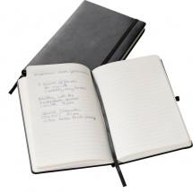 Gelinieerd notitieboekje met een elastische band - zwart