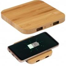Wireless charger van bamboe met 2 USB-Hubs - beige