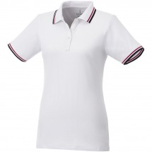 Fairfield dames polo met tipping en korte mouwen - Wit/Navy/Rood