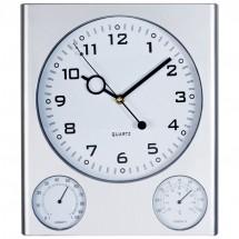 Wandklok met thermometer en hygrometer - grijs