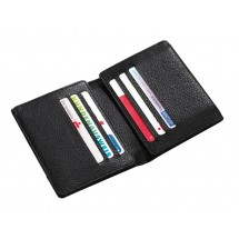 Leather credit card purse, black