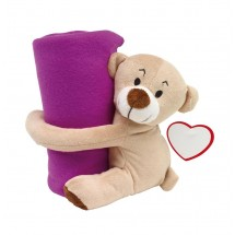 Plush bear Rene with blanket, purple