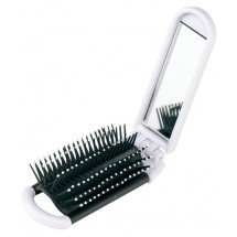 Foldable hair brush mirror,Elvis white