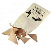 Wooden puzzle Tangram, with cotton bag