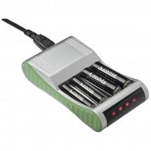 Batterijlader voor 4 batterijen - grijs