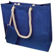 Jute tas met koord - blauw