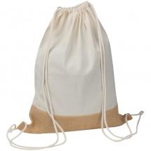 Gymbag van katoen en jute - wit