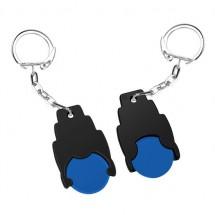 Winkelwagenmuntje 1 Euro in houder - blauw/zwart