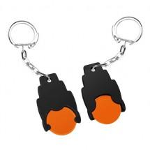 Winkelwagenmuntje 1 Euro in houder - oranje/zwart
