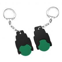 Winkelwagenmuntje 1 Euro in houder - groen/zwart