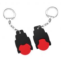 Winkelwagenmuntje 1 Euro in houder - rood/zwart