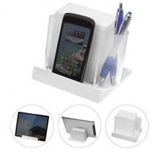 Smartphone of tablethouder met memobox - transparant/wit