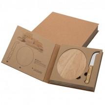 Kaasset met houten plank - beige
