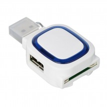 USB-hub met 2 poorten en memorycard reader REFLECTS-COLLECTION 500 wit/blauw