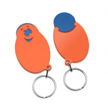 "Winkelwagenmunthouder met 1-Euro-muntje ""Smiley"" - blauw/oranje"