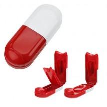 Pillendoosje tabletvorm - wit/rood
