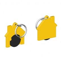 Winkelwagenmuntje 1-Euro in houder huis - zwart/geel