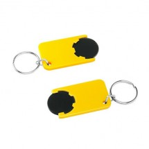 Winkelwagenmuntje 1-Euro in houder - zwart/geel