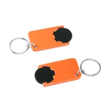 Winkelwagenmuntje 1-Euro in houder - zwart/oranje