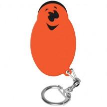 Winkelwagenmunthouder met 1-Euro-muntje Smiley - zwart/oranje