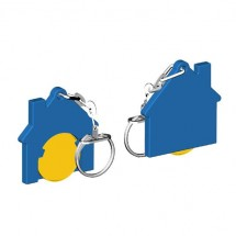 Winkelwagenmuntje 1-Euro in houder huis - geel/blauw
