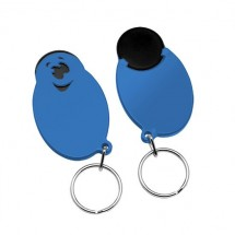 "Winkelwagenmunthouder met 1-Euro-muntje ""Smiley"" - zwart/blauw"