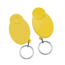 """Winkelwagenmunthouder met 1-Euro-muntje """"Smiley"""" - geel/geel"""