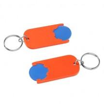 Winkelwagenmuntje 1-Euro in houder - blauw/oranje