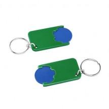 Winkelwagenmuntje 1-Euro in houder - blauw/groen