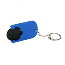 Winkelwagenmuntje 1-Euro in houder - zwart/blauw