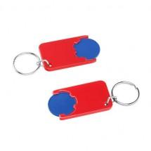 Winkelwagenmuntje 1-Euro in houder - blauw/rood