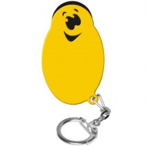 Winkelwagenmunthouder met 1-Euro-muntje Smiley - zwart/geel