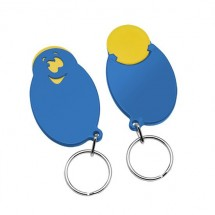 "Winkelwagenmunthouder met 1-Euro-muntje ""Smiley"" - geel/blauw"