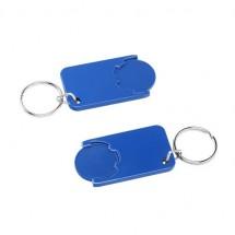 Winkelwagenmuntje 1-Euro in houder - blauw/blauw
