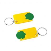 Winkelwagenmuntje 1-Euro in houder - groen/geel