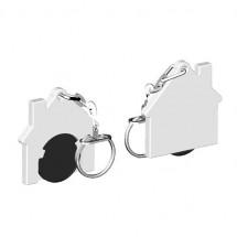 Winkelwagenmuntje 1-Euro in houder huis - zwart/wit