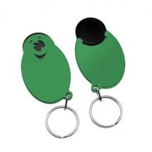 "Winkelwagenmunthouder met 1-Euro-muntje ""Smiley"" - zwart/groen"