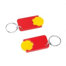 Winkelwagenmuntje 1-Euro in houder - geel/rood