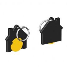 Winkelwagenmuntje 1-Euro in houder huis - geel/zwart