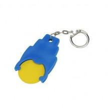 Winkelwagenmuntje 1-Euro in houder - geel/blauw